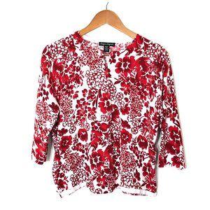 Designers Originals White & Red Floral Cardigan XL